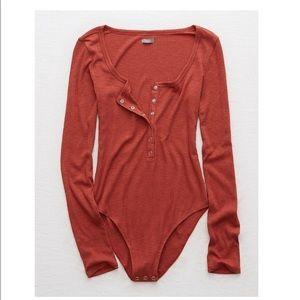 Aerie Burnt Orange Real Soft Ribbed Bodysuit